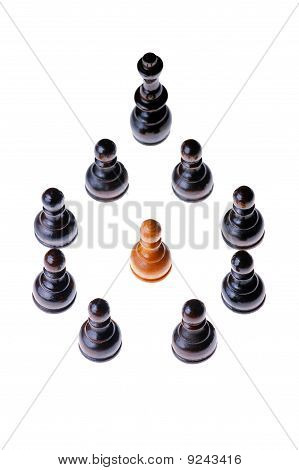 White pawn encircled ( defeated ) by black pawns and a king , one member standing out of a group
