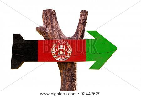 Afghanistan Flag wooden sign isolated on white background