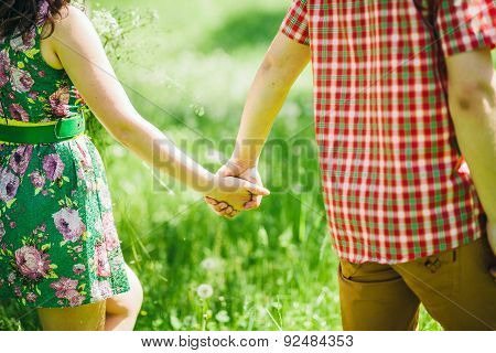 Country Love Story Couple In Green Summer Meadow