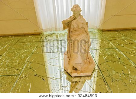Statues On Broken Glass In Modern Art National Museum In Rome Italy