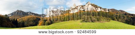 Panoramic Autumnal View From Sulov Rockies