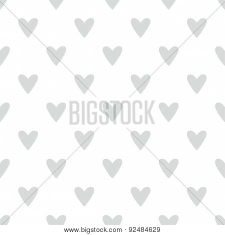 Tile vector pattern with grey hearts on white background