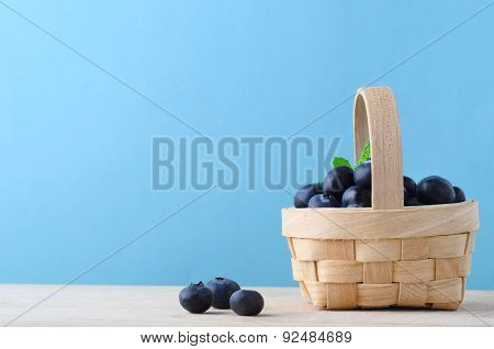 Small Basket Of Blueberries