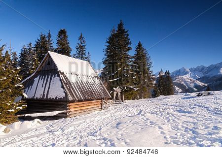 Wooden Hut In Winter In Mountain