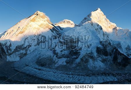 Panoramic View Of Mount Everest, Lhotse And Nuptse