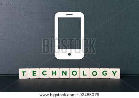 Technology Word And Mobile Phone