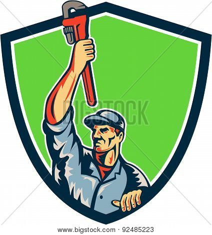 Plumber Raising Up Monkey Wrench Shield Retro