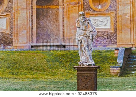 Sculptures In Villa Pamphili In Rome, Italy.