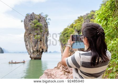 Women Tourist Shooting Natural View By Mobile Phone