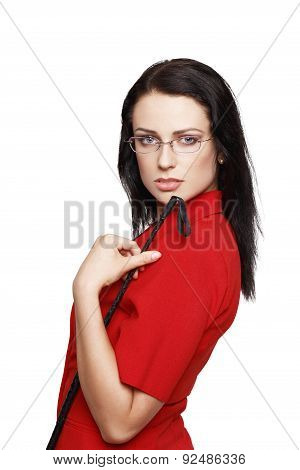 Sexy Woman In Glasses And Red Suit Holding Whip