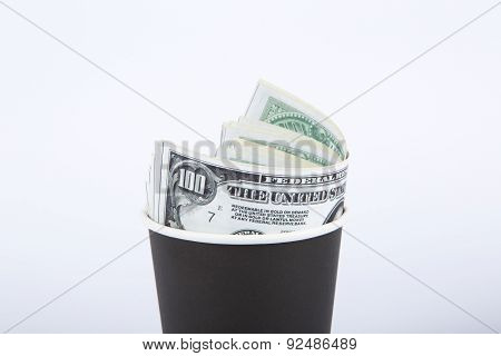Black Paper Glass With Money