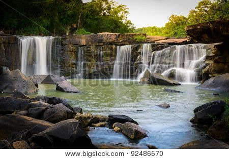 Natural View Of Waterfall In Tadton National Park