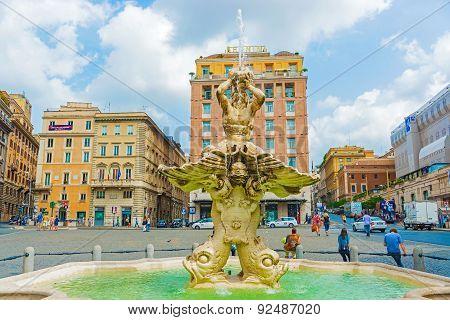 Fountain In Piazza Barberini In Rome, Italy.