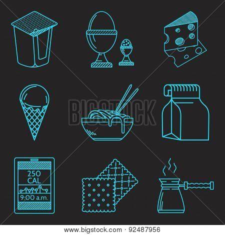 Diet menu blue line vector icons set