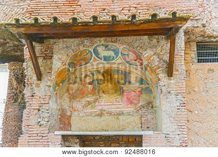 Frescoes On The Wall, Rome, Italy.