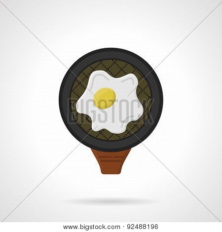 Fried egg flat colored vector icon