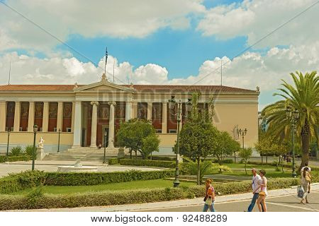 Main Building Of University Of Athens In Greece.
