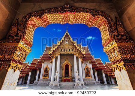 Temple In Bangkok, Beautiful Thai Temple Wat Benjamaborphit