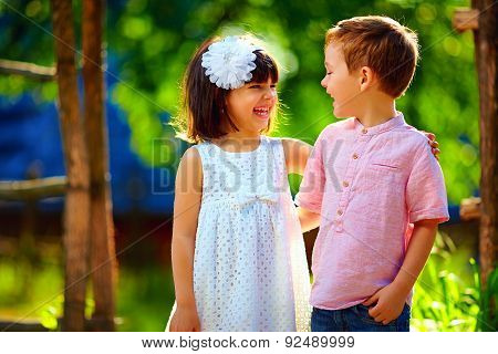 Cute Laughing Children Having Fun Outdoors, Summertime