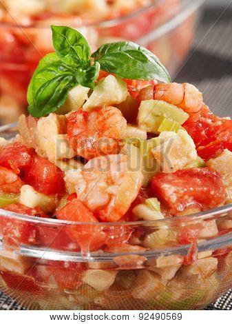 Tomato, Shrimps And Avocado Salad