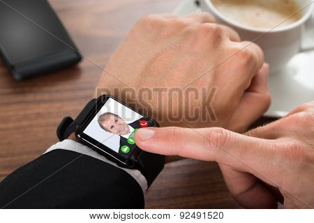 Businessman Video Calling Using Smartwatch