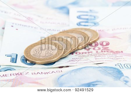 Turkish Lira Coins On Banknotes