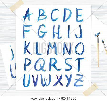 Vector Blue Watercolor Font, Handwritten Letters. Abc