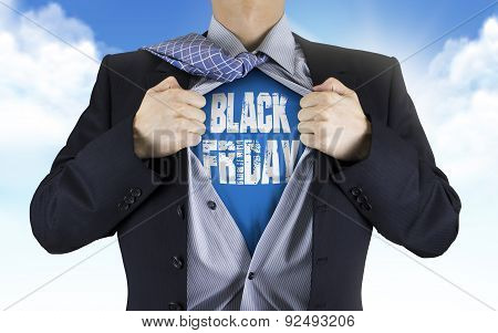 Businessman Showing Black Friday Words Underneath His Shirt