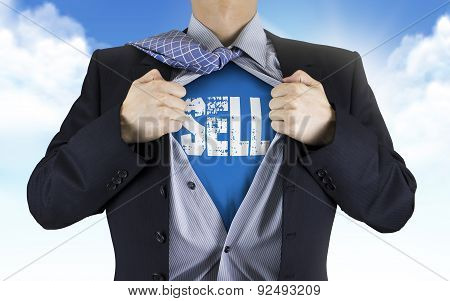 Businessman Showing Sell Word Underneath His Shirt