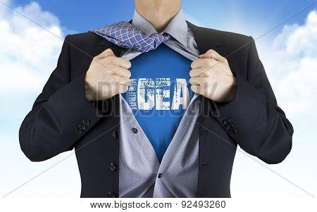 Businessman Showing Idea Word Underneath His Shirt
