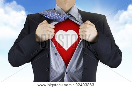 Businessman Showing Heart Icon Underneath His Shirt