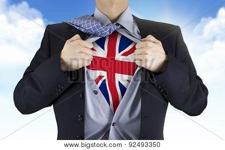 Businessman Showing United Kingdom Flag Underneath His Shirt