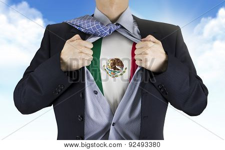 Businessman Showing Mexico Flag Underneath His Shirt