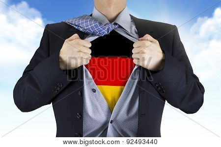 Businessman Showing German Flag