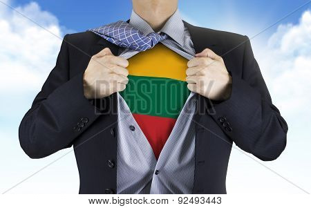 Businessman Showing Lithuania Flag Underneath His Shirt