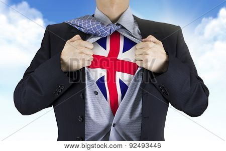 Businessman Showing Great Britain Flag Underneath His Shirt