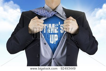 Businessman Showing Time's Up Words Underneath His Shirt