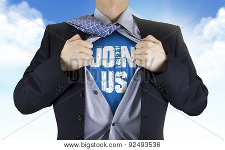Businessman Showing Join Us Words Underneath His Shirt