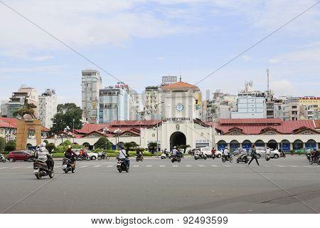 Ben Thanh market at Quach Thi Trang park in Hochiminh city