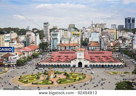 Ben Thanh Market - Quach Thi Trang park on the high, Ho Chi Minh city, Vietnam