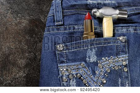 Female Worker Blue Jeans With Rhinestone Decoration