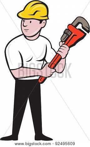 Plumber Holding Monkey Wrench Cartoon