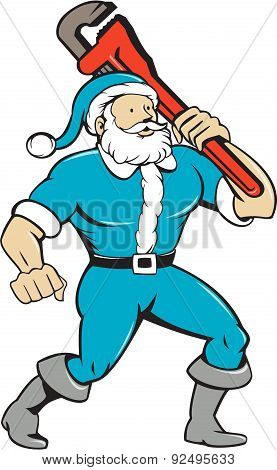 Muscular Santa Claus Plumber Wrench Isolated Cartoon