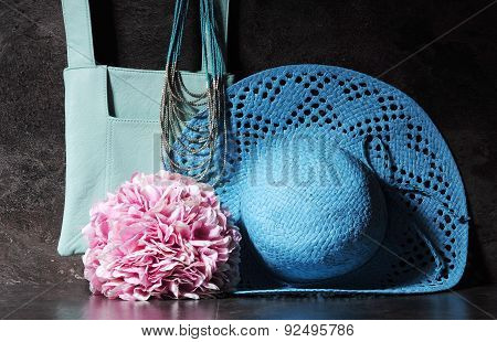 Ladies Vintage Aqua Blue Sun Hat, Shoulder Bag And Necklace.