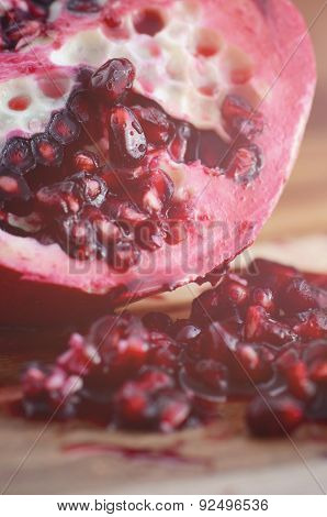 Close Up Of Seeds Of Pomegranate Fruit.