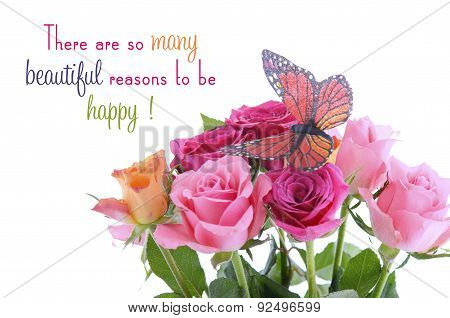 Bouquet Of Multi Color Rose Buds With Butterfly And Quote