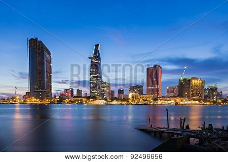 Night view of Business and Administrative Center of Ho Chi Minh city