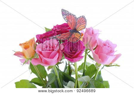 Bouquet Of Multi Color Rose Buds With Butterfly