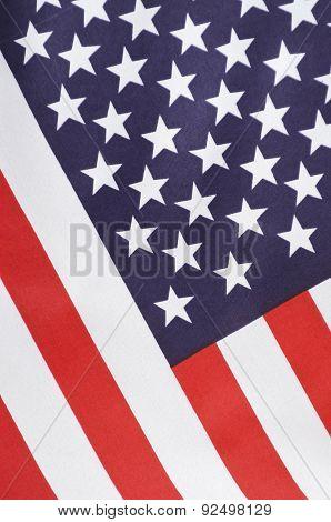 Usa Stars And Stripes Flag On Dark Wood