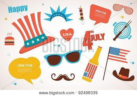 costume and traditional objects for independence day of America